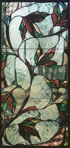 Deep, dark pinks and greens   Leaded stained glass hanging panel   Osler-Kurki Studio