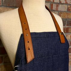 Leather and Denim Knee Length Apron Denim by PurityLeatherGoods