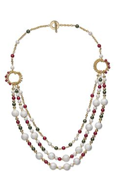 Triple-Strand Necklace with Silver-Plated Brass Stardust Beads and Czech Pressed Pearl-Coated Glass Druk Beads