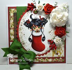 Make it Crafty Store – Fairy-Gift.     Copics: Skin: E0000, E000, E00, E01, E11, E13 Hair: C3, C7, Black Red: R24, R27, R29, R59 Green: YG05, YG25, YG67 White: N0, N2, Colorless Blender