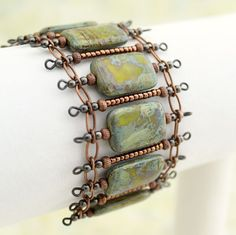 Green, copper and gunmetal bracelet by Lisa Steiner of Elaina Louise Studios So pretty - nice by Elzalie Copper Jewelry, Wire Jewelry, Jewelry Crafts, Jewelry Art, Beaded Jewelry, Jewelry Design, Jewelry Bracelets, Jewellery, Jewelry Ideas