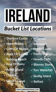 Planning the perfect Ireland road trip itinerary doesn't have to be stressful or overwhelming. Cliffs Of Moher, Ring Of Kerry, Blarney Castle, Dublin + more Ireland Bucket List Locations Ireland Travel Guide, Travel List, Travel Guides, Traveling To Ireland, Travel Trip, Backpacking Ireland, Traveling Tips, Travel Mugs, Travel Hacks