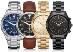 The Michael Kors Hybrid Smartwatch Collection. Michael Kors Fossil Group on Tuesday announced a new line of hybrid smartwatches from brands like Emporio. Giorgio Armani, Emporio Armani, Smartwatch, Cool Watches, Rolex Watches, Most Popular Watches, Watch Blog, Swiss Army Watches, G Shock