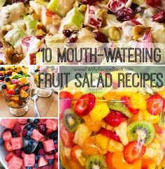 10 mouth-watering fruit salad recipes to die for the summer and light snacks. Oh so yummy. Advertisement - Continue below // Hawaiian cheesecake salad Honey lime fruit salad Fruit salad to die for Creamy cinnamon apple and walnut fruit salad Sunshine salad is a fruit...