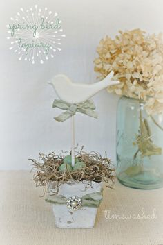 Spring Bird Topiary by timewashed on Etsy Bird Crafts, Easter Crafts, Diy And Crafts, Spring Birds, Flower Pots, Flowers, Easter Party, Deco Table, Vintage Easter