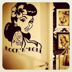 Old School Pin Up- Girl Wall Decal. €39,00, via Etsy.