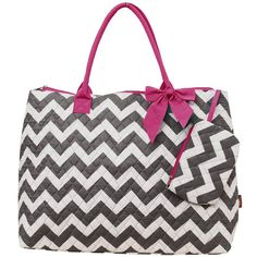Gray with pink trim chevron large tote/ hand by sewsassybootique, $26.99