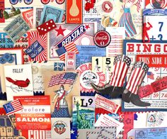 Patriotic Inspiration Kit*Red White Blue Paper Pack*Vintage Ephemera Pack by ScrappyBird on Etsy