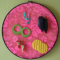 lace in embroidery hoop as earring frame - by Naughty Secretary Club, via Flickr