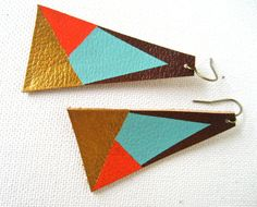Items similar to Geometric Painted Leather Earrings on Etsy
