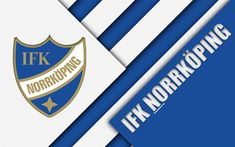 Download wallpapers IFK Norrkoping, 4k, logo, material design, Swedish football club, blue white abstraction, Allsvenskan, Norrkoping, Sweden, football, Norrkoping FC
