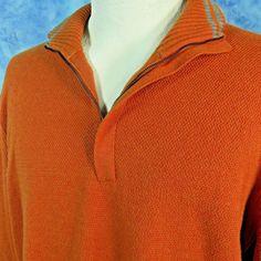 Zegna Sport Mens L Orange Sweater Cotton Cashmere 1/4 Zip Golf Emerengildo Zegna #ZegnaSport #12Zip