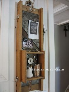 Chipping with Charm: Kraut cutter turned turned memo station...http://www.chippingwithcharm.blogspot.com/