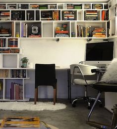 Be sure you have room for everything that is essential to the work that you do. If your work area is small, take advantage of vertical space by installing shelves above your desk or putting tall bookcases adjacent.
