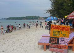 beach scene on Ochheuteal Beach, Sihanoukville Cambodia
