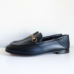 1fa858532dc eBay  Sponsored 100% authentic BN GUCCI brixton loafers black leather gold  horsebit flats 38
