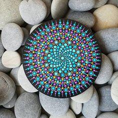 Hand-painted mandala dot art on wood slice