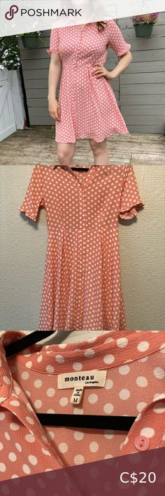 💗 Vintage Style Pink Polka Dot Dress 💗 Pink Polka Dot 50's Inspired Dress 💗 Only worm once in perfect condition. Flattering fit and flowy fabric.  ✨Always open time offers Monteau Dresses Mini Dress With Bow, Dot Dress, Pink Dress, Floral Lace Dress, Striped Dress, Demin Dress, White Collar Dress, Black Flare Dress, Vintage Style