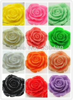50pcs Large Rose 42mm Resin Flower With Hole For Chunky Necklace Chunky Flower Beads flower pendants   Bubblegum beads PJ002-in Beads from Jewelry on Aliexpress.com