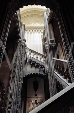 Wow, breath-taking architecture. The Grand Staircase at Penrhyn Castle, Gwynedd, North Wales ~ ©National Trust Images/Andreas von Einsiedel Architecture Antique, Beautiful Architecture, Beautiful Buildings, Architecture Design, Beautiful Places, Grand Staircase, Staircase Design, Open Staircase, Spiral Staircases