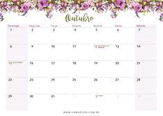 Calendário de Outubro 2017 para imprimir.
