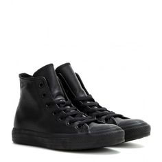 Converse Chuck Taylor All Star Leather High-Top Sneakers ($119) ❤ liked on Polyvore featuring shoes, sneakers, converse, black, black leather sneakers, black leather high tops, converse sneakers, leather shoes and converse high tops