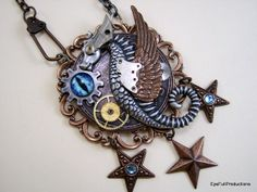 Time Writer, Steampunk, Sci Fi, Fantasy Necklace, Handmade USA by EyeFullProductions on Etsy, $82.00