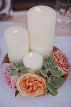 Did this exact scheme for my wedding dinner tables...well, half of the tables. Gorgeous if I do say so myself! :)