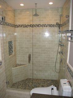 Grey porcelain tile was chosen for the floor shower walls for Bathroom remodel for 4000