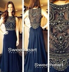 Dark Blue Chiffon A-line Beaded Long Prom Dresses, Evening Dresses, Formal Dresses from Sweetheart Girl