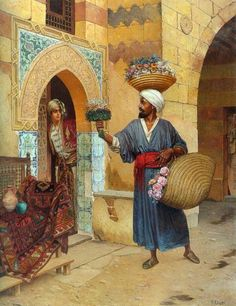The Flower Seller :: Rudolf Ernst - scenes of Oriental life ( Orientalism) in art and painting