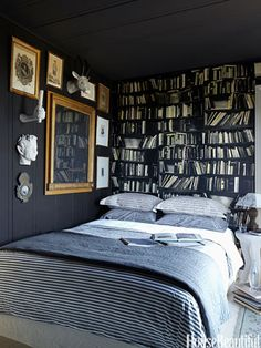 Black Bedroom - like the frame around a bit of chalkboard paint