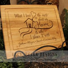 www.lacybella.com  Engraved oak cutting board with family quote and personalized names
