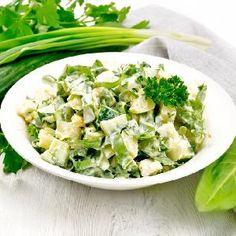 Ukraińska sałatka z kiszonych ogórków z chrzanem Potato Salad, Spinach, Salads, Potatoes, Vegetables, Ethnic Recipes, Food, Potato, Veggies