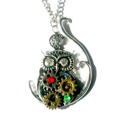 Owl Gear Necklace Steampunk Silver Rhinestone Handmade Gift - pinned by pin4etsy.com