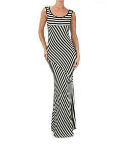 Another great find on #zulily! Black & White Stripe Panel Maxi Dress by J-MODE #zulilyfinds