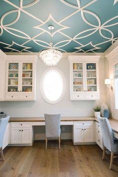DIY Home Decor: Beautiful ceiling design idea Home Office Design, Home Office Decor, Diy Home Decor, House Design, Office Ideas, Office Designs, Office Furniture, Furniture Design, Business Furniture