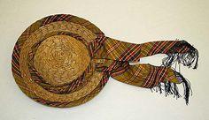 Hat    Date:      1860s  Culture:      American  Medium:      straw  Dimensions:      Length (f to b): 12 in. (30.5 cm)
