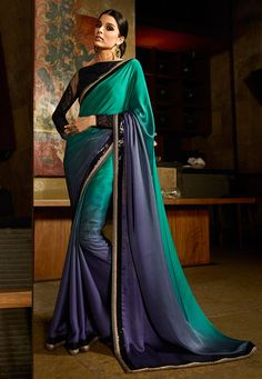 Embroidered Satin Saree in Shaded Dark Teal Blue and Blue: SESA352