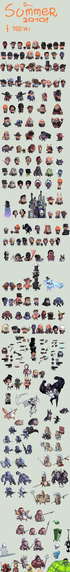 Productive Summer pixel art by Shwig - Team Fortress 2, Mass Effect, Venom, Minecraft, Avengers...