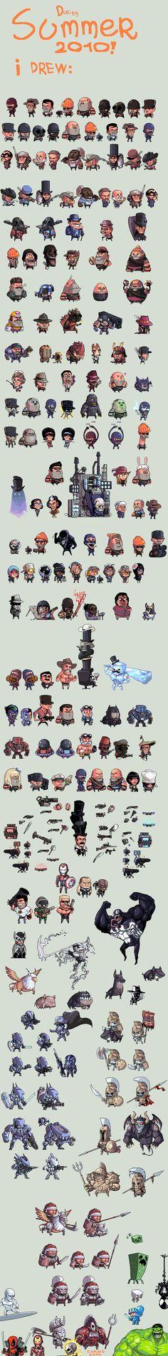 Productive Summer pixel art by Shwig - Team Fortress 2, Mass Effect, Venom, Minecraft, Avengers...