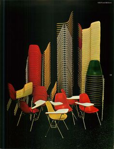 """Herman Miller Collection catalogue image featuring colourful Eames stacking and """"ganging"""" chairs (ie, the chairs can be ganged in straight or curved rows; when stacked, the side hooks support and separate the seats so as to avoid abrasion) Mid Century Chair, Mid Century Decor, Modern Furniture, Furniture Design, Indoor Hammock, Eames Chairs, Mid Century Modern Design, Modern Graphic Design, Timeless Design"""