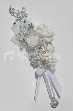 Something of this order but have one butterfly instead of roses. Crystal Mini Wedding Mother of Bride Corsage [Emily - Corsage (2)] - £24.99 : Silk Blooms UK