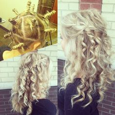 How to get all-over spirals curls: Zulu knots... Twist into knots, pin in place, flat iron the knots to heat them, allow to cool, flat iron again, allow to cool, let them down! Styled with a waterfall braid. -- By Taylor Nick, William Edge Salon, Nashville, TN
