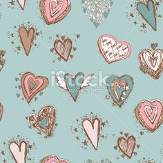 Seamless pattern with hearts. Blue, pink, brown. vector Royalty Free Stock Vector Art Illustration
