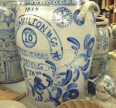 Blue Decorated Stoneware: 1859 Hamilton & Co., Greensboro,Green County, Pennsylvania.