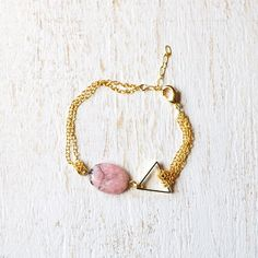 Pink Rhodonite And Triangle Bracelet by kellyssima on Etsy