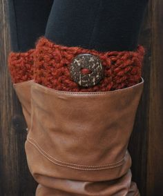 Crochet Chunky Boot Cuffs with Coconut Button - Spice Red Orange Brown - Knit Leg Warmers Socks Toppers