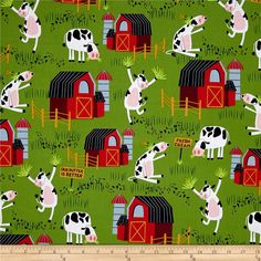 Bessie & The Diaryinettes Cow Farm Green from @fabricdotcom  Designed by Suite 1500 for Makower/Andover, this cotton print is perfect for quilting, apparel and home decor accents. Colors include green, black, white, red, blue, mustard, pink and burgundy.