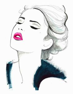 Illustration : Sensual woman with head back wearing pink lipstick